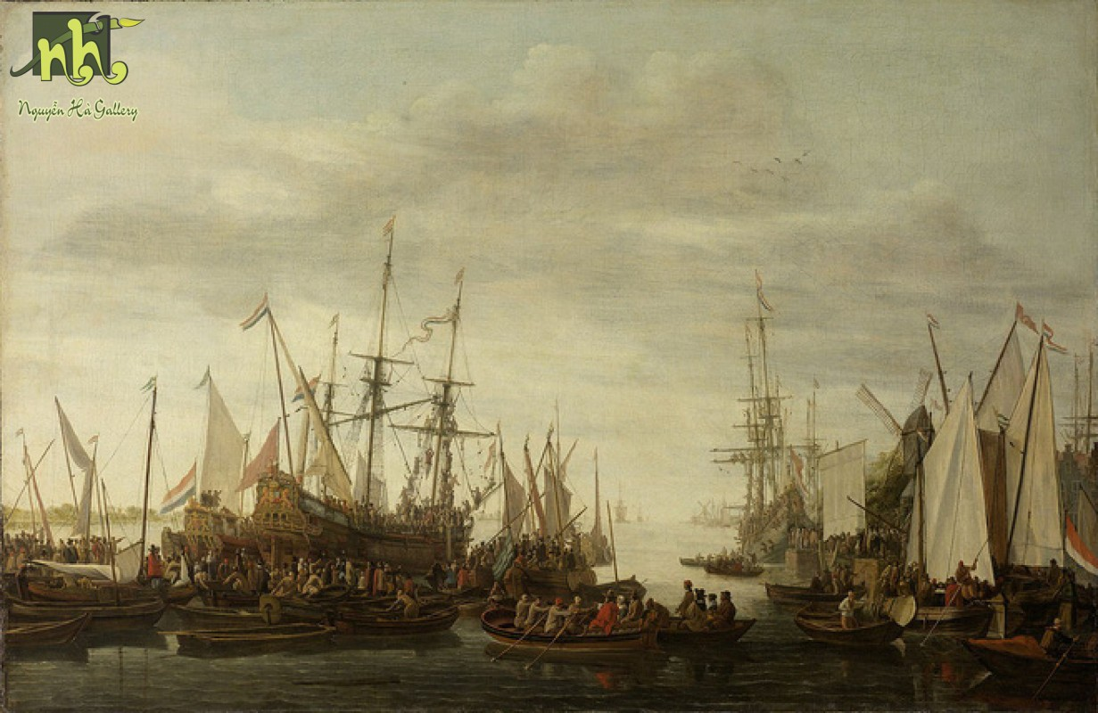 Tranh cổ điển thuyền buồm và con người