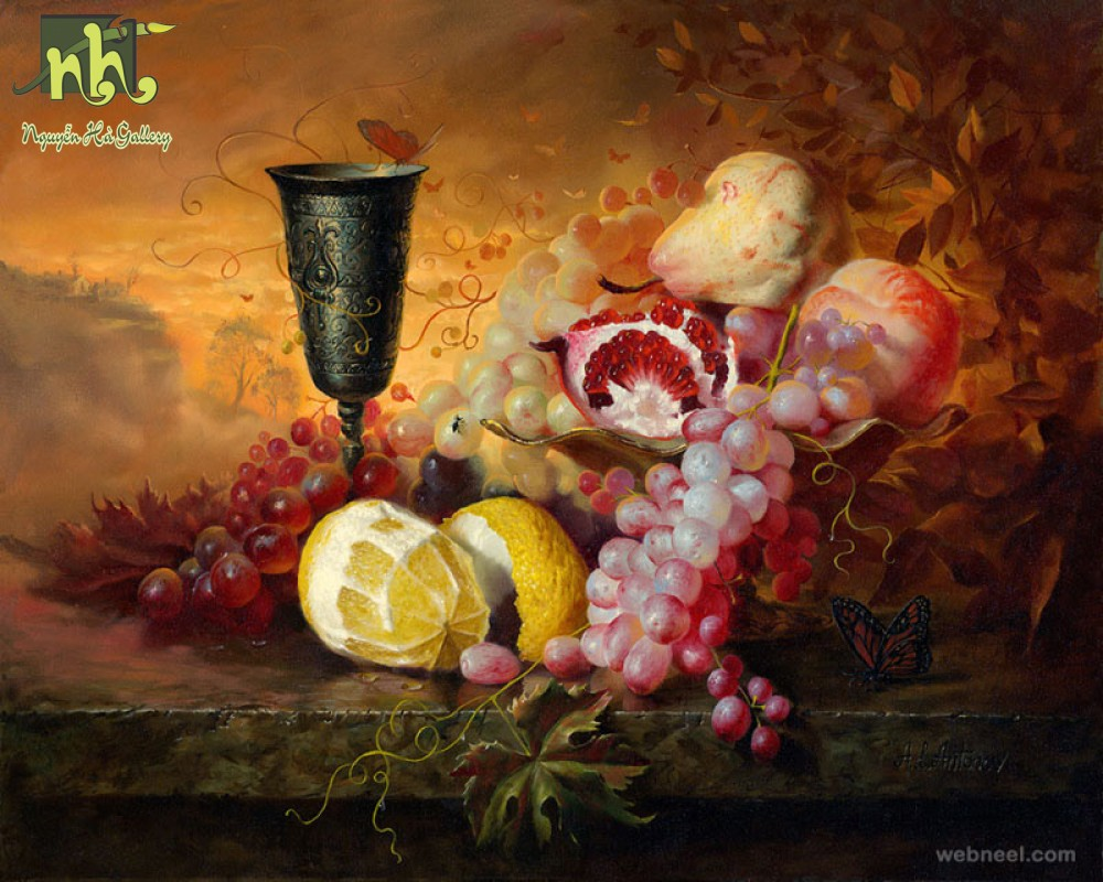 Tranh tĩnh vật hoa quả và rượu